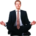 Businessman sitting in lotus position, Isolated against white background